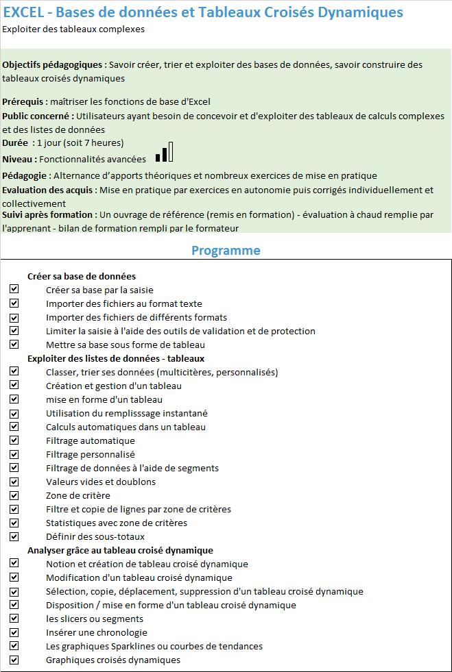 Formation Excel Base de données et Tableaux Croisés Dynamiques