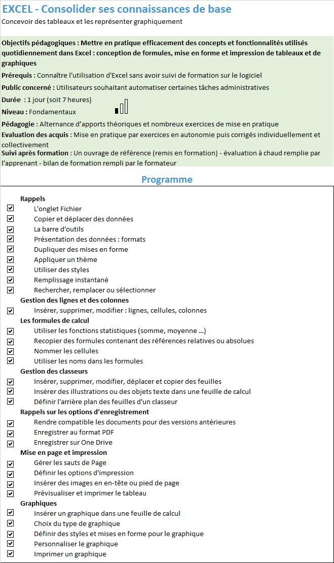 Formation Excel Consolider ses connaissances de base