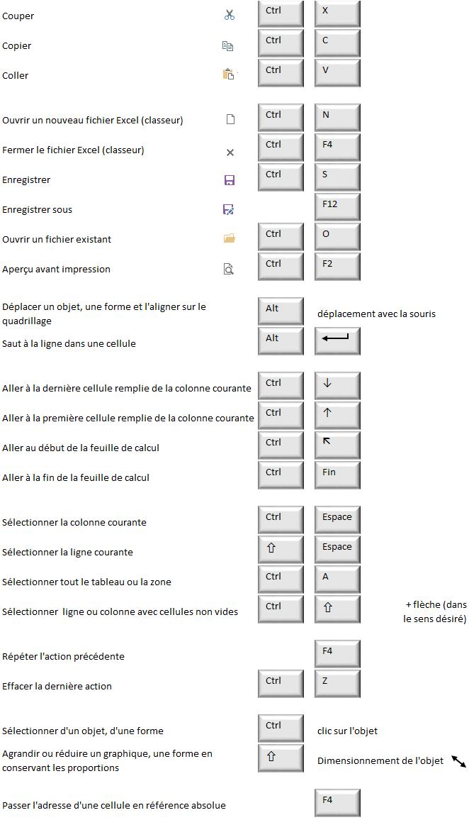 Raccourcis Excel Dophis