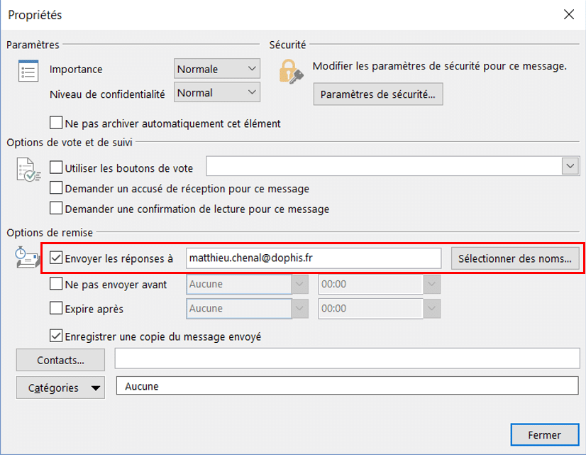 outlook choix destinataire reponse