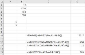 excel indirect