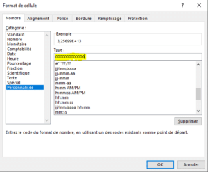 Excel format personnalisé
